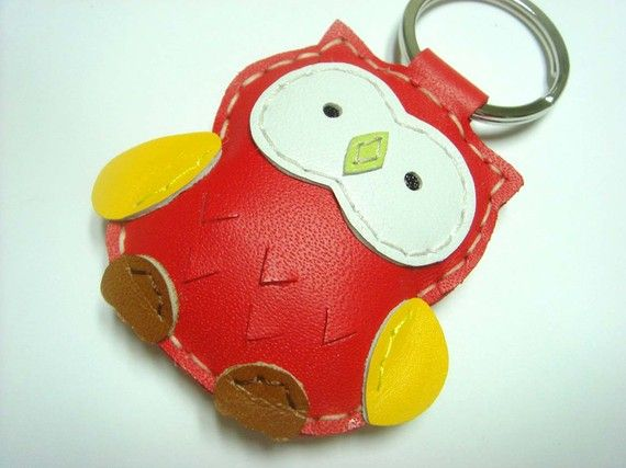 Lovely Fanny the Owl Leather Keychain  Red  by leatherprince, $18.90