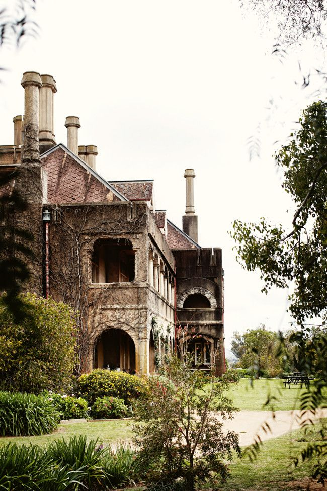 Iandra Castle exterior, ivy-clad eastern wing