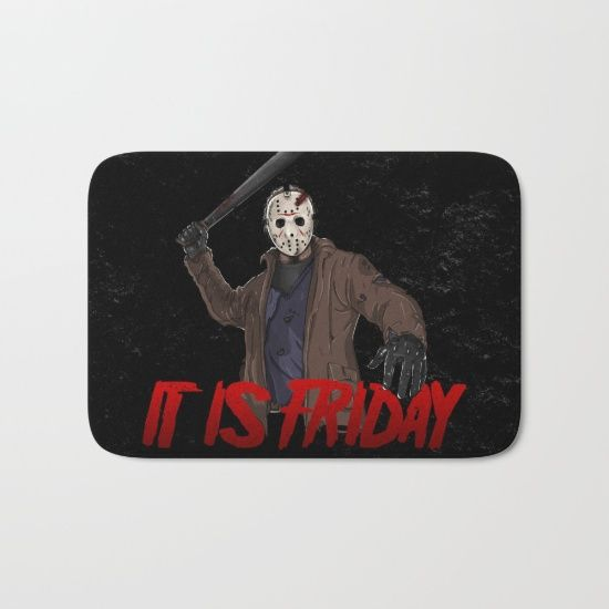 The perfect bath mats: fuzzy, foamy and finely enhanced with brilliant art. With a soft, quick-dry microfiber surface, memory foam cushion and skid-proof backing, our shower mats are a cut above your typical rug. Keep them clean with a gentle machine wash (no bleach!) and make sure to hang dry. #friday #fridaythe13th #13thfriday #sexta13 #jason #jasonvoorhees #terror #terrormovies