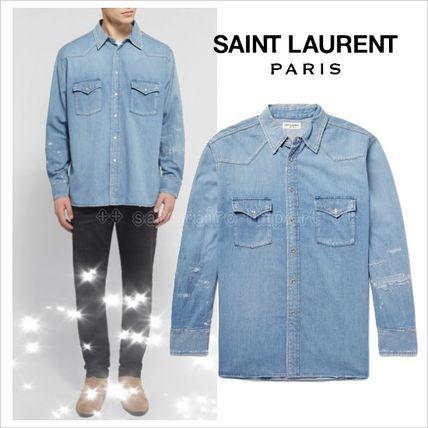 ●2017SS●Saint Laurent ダメージ加工デニムウエスタンシャツ