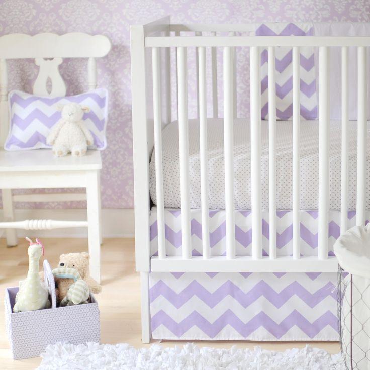 Chevron Zig Zag Baby Lavender Crib Bedding Set By New Arrivals Inc.