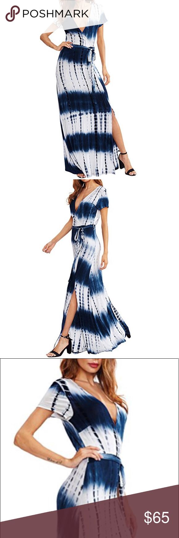 🆕 Blue and White Tie Die Sexy Wrap Maxi Dress NWOT. 95% rayon and 5% spandex. Ties at the waist. So cute and comfy! Dresses Maxi