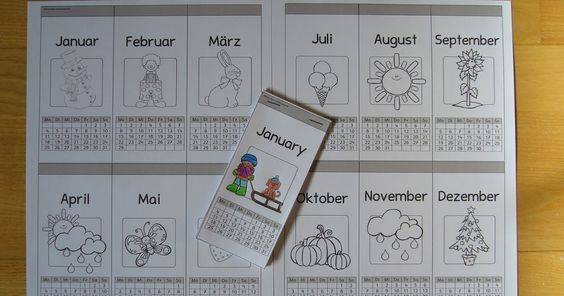 Kleiner Kalender zum Basteln Diese kleine Kalendervorlagen habe ich für die Zeit erstellt, wenn es dann in Englisch sehr bald mit den M...