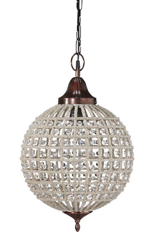 Taklampa med prismor. 1,2 m kedja med takkopp i samma färg som lampa. Höjd 47 cm. Diameter 32 cm. E27, 40W.  <br><br>