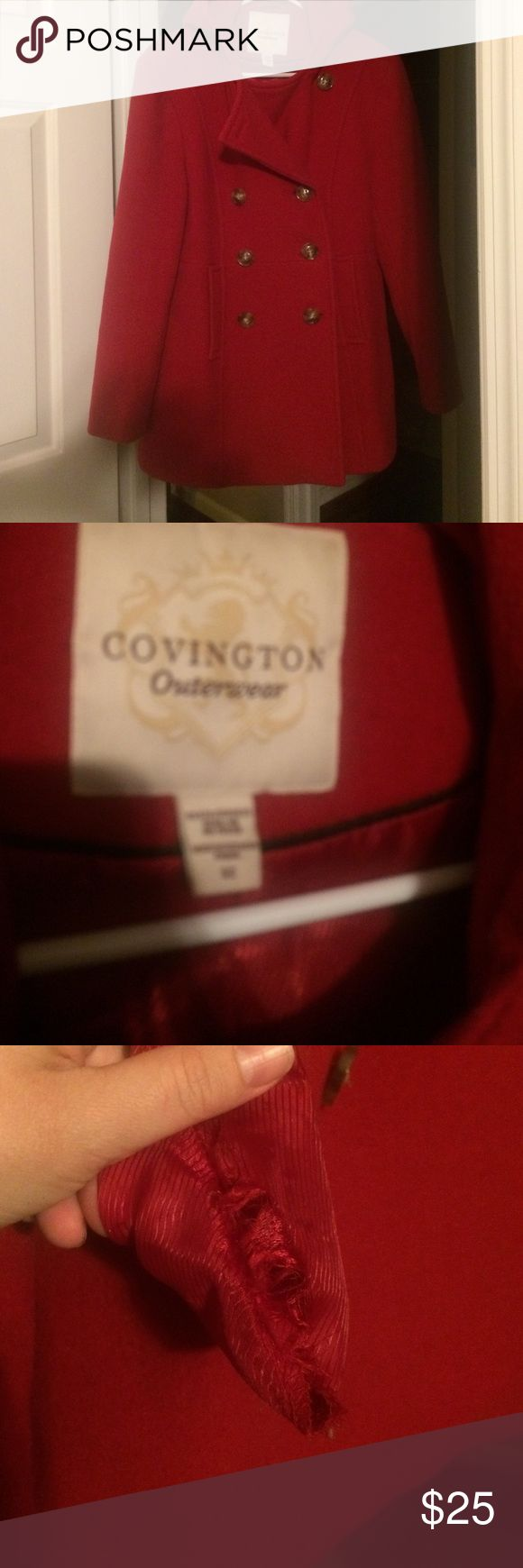 Red Pea Coat with Hood size small Great coat. Does need cleaning. Hole in the right pocket inside. All buttons are attached. Has a hood on it. Nice and warm. Red in color Covington Jackets & Coats Pea Coats