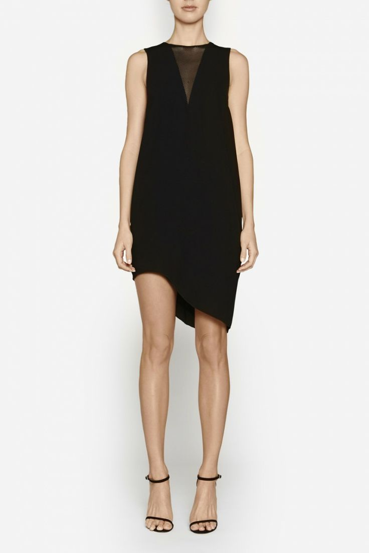 Camilla and Marc | ACUTE ANGLE DRESS  US$364.57 Relaxed shift dress designed in a black double georgette with a mesh panel at the neckline. Features a triangular mesh panel, asymmetrical hemline and invisible zipper at the centre back.