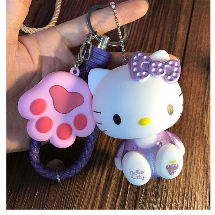 Милый кошачий коготь светодиодные фонари звук, брелки Hello Kitty брелок KT брелоки женщина автомобиля кошелек сумка Подвески Брелок держатель кулон купить на AliExpress