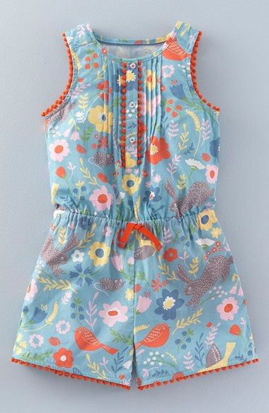 Mini Boden 'Pretty' Print Romper (Toddler Girls, Little Girls & Big Girls)