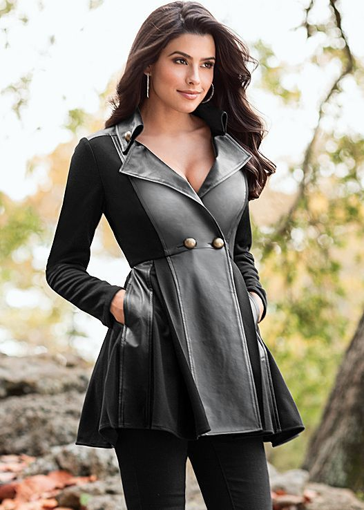 dcd0bff1097e Black Faux leather flare coat from VENUS. Sizes XS-XL!