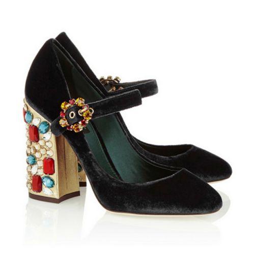 Vintage-Pumps-Womens-Velvet-Shoes-Chunky-Heels-Rhinestones-Buckles-Wedding-I557