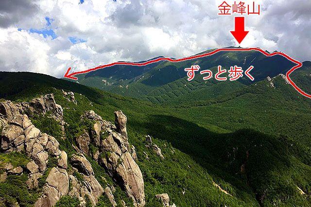 瑞牆山から見える稜線で10分の1くらいの行程。マジか。