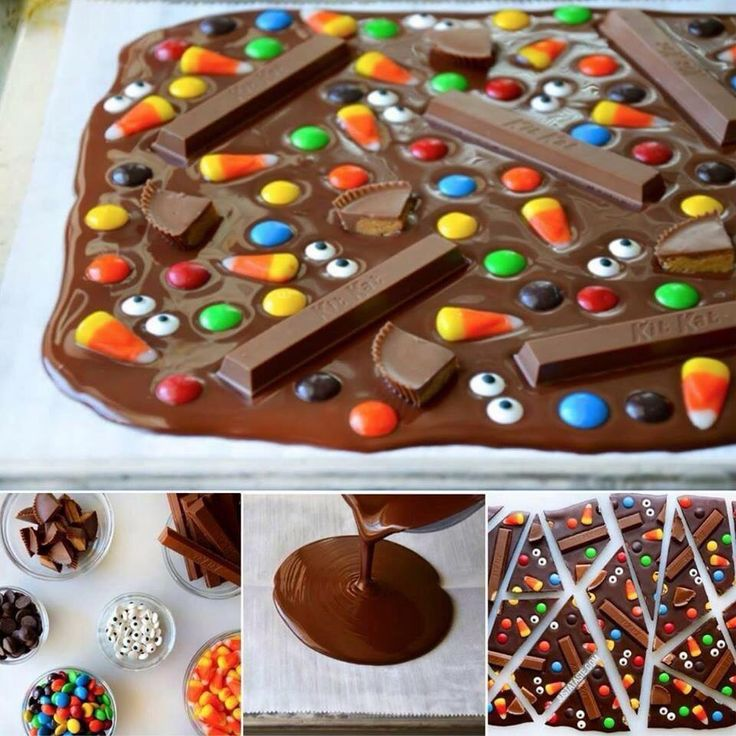 For those of you wanting the recipe!! Halloween Candy Bark Yield: 10 to 12 servings Prep Time: 5 min Cook Time: 5 min Ingredients: 3 cups bittersweet chocolate chips 2 cups assorted candy, cut into bite size pieces Directions: Line a baking sheet with parchment paper. Melt the chocolate chips in a double boiler or in the microwave, stirring until smooth. Pour the chocolate onto the parchment paper, and using a spatula, spread it into an even layer about 1/4-inch thick. Sprinkle the chopped…