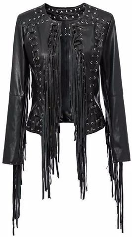 Faux-Leather Laced Tassel Jacket in Black or Yellow