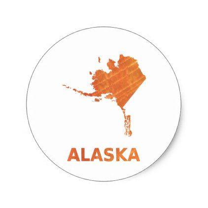Alaska map outline Sunny orange clouded watercolor Classic Round Sticker - craft supplies diy custom design supply special