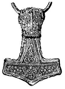Dessin d'un pendentif Mjöllnir en argent plaqué or de 4,6cm retrouvé à Bredsätra dans l'Öland, Suède - Original au Musée historique de Stockholm