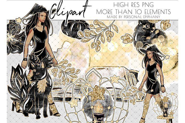Halloween clipart, planner girl, witch beast fall, dark skin