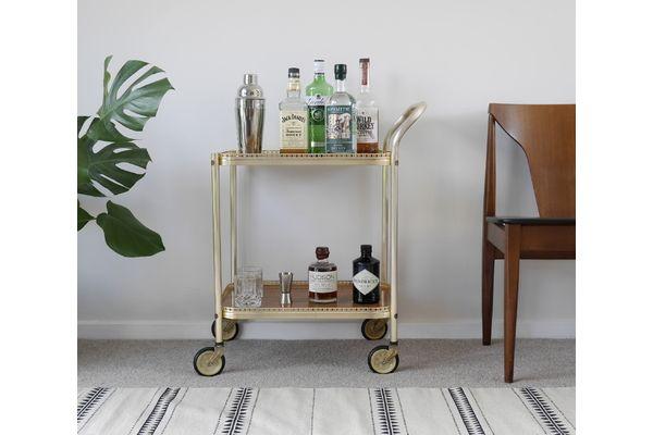 Vintage Gold Bart Cart, Drinks Trolley. Mid Century | vinterior.co