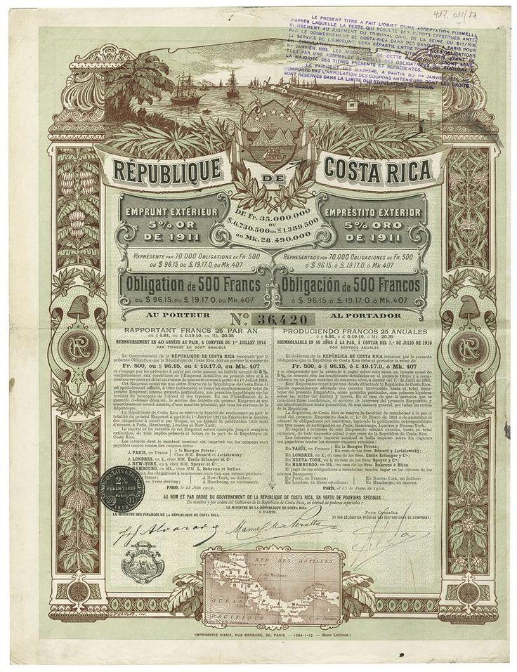 République de Costa Rica. Obligation über 500 Francs. Paris, 25. Juni 1912