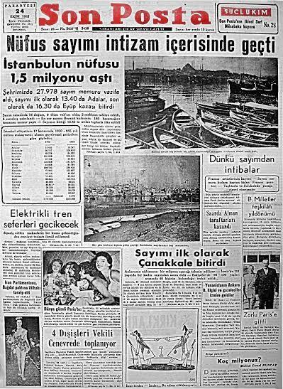 ''İstanbul'un nüfusu 1,5 milyonu aştı'' (Son Posta, 24 Ekim 1955) #UnutulmuşManşetler #istanlook