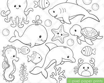 Rainforest animals – Digital Stamps – Clipart