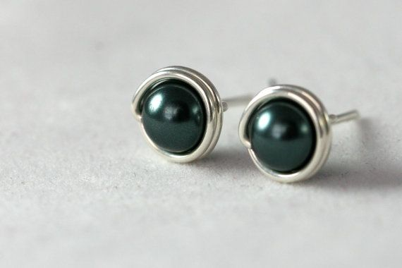 Tahitian Pearl Stud Earrings Wire Wrapped by JessicaLuuJewelry, $11.00