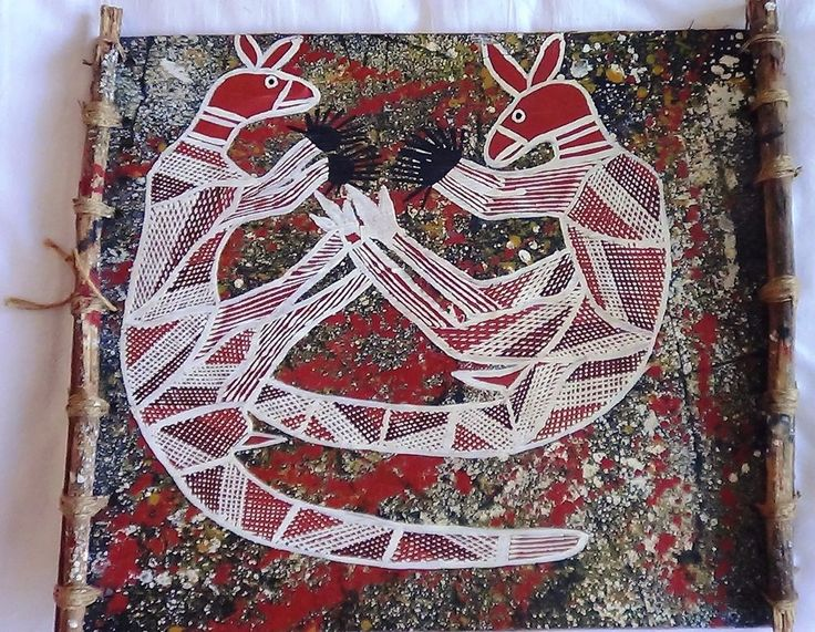 Original Art Aboriginal Two Male Kangaroo's Fighting In Acrylic on wood, unusual