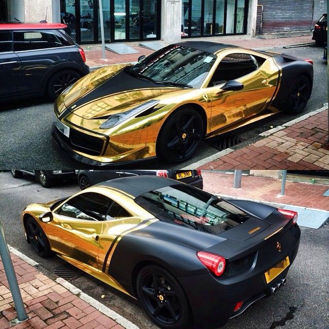 Follow @impressivewrap • #Ferrari 458 Full Wrapped In Gold Chrome W/ Matte Black Custom Design.