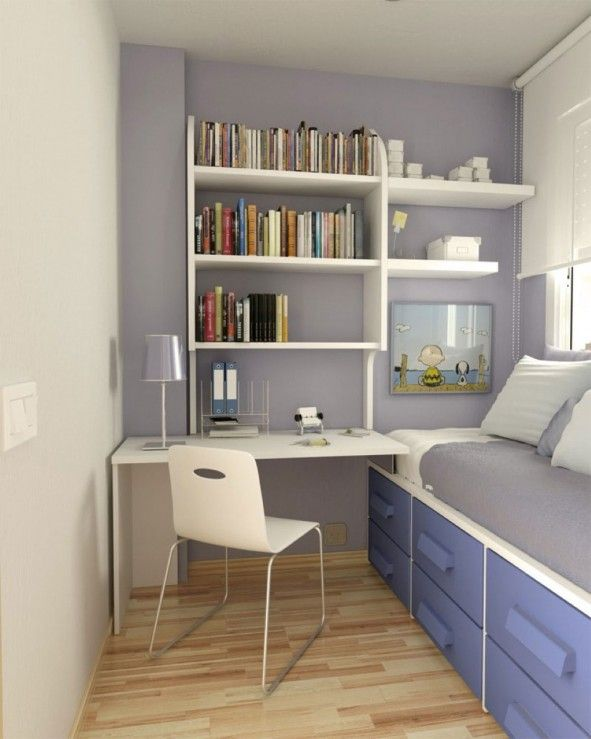 Interior, White Desk Chair Feat Modern Bed With Open Bookshelves In Amazing Small Space Interior Design Idea Plus Wood Floor ~ Good Looking Creative Design for Small Space Interior