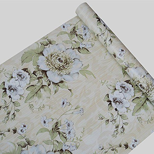 Self Adhesive Blue Vintage Floral Pattern Contact Paper Shelf Liner for Cabinets Shelves Drawer Arts and Crafts Decal 17.7x78.7 Inches