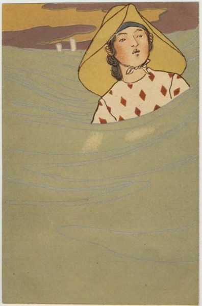 Japanese Postcard, Late Meiji Era: Artists, Fineart, Print Japanese Postcards, Waves, Fine Art, Asian Art