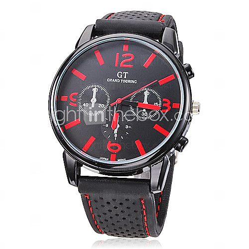 Hombre Reloj de Pulsera Cuarzo Silicona Banda Negro Marca- - USD $5.99