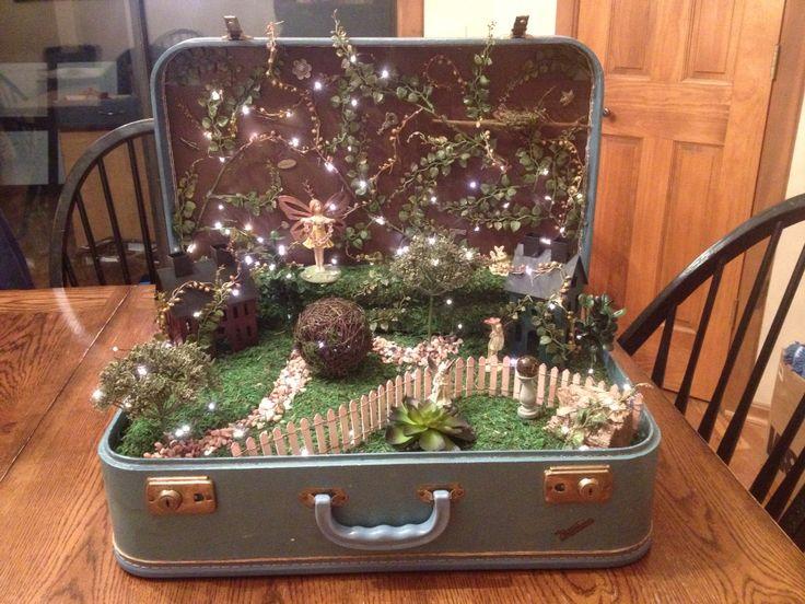 My vintage suitcase fairy garden.