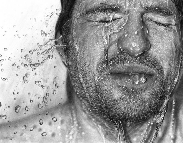 Ice Bucket Challenge  This Ice Bucket Challenge picture was based on a photograph of someone covering themselves in ice cold water. Although you would find it difficult to tell the difference between the two, as the artist has captured the movement of the water perfectly.