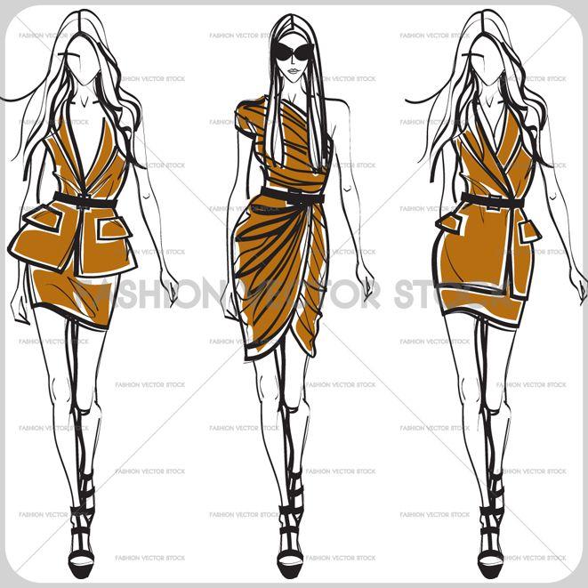 3 models korean Fashion illustration sketches, Fashion vector