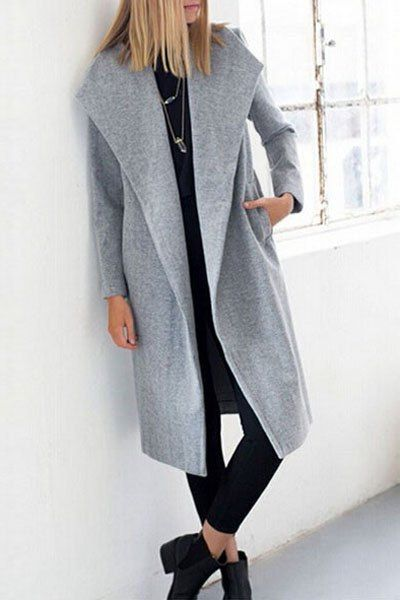 Turn Down Neck Gray Long Coat GRAY: Jackets & Coats | ZAFUL