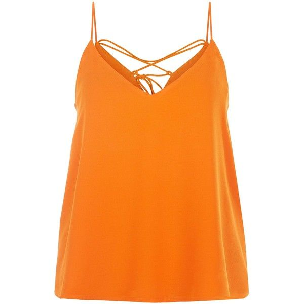 Orange Lace Back Cami Top ($16) ❤ liked on Polyvore featuring tops, orange tank top, lace back tank tops, camisole tank, orange cami and cami top