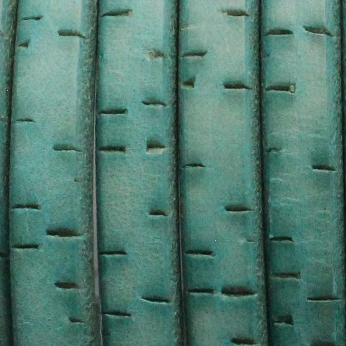 """TURQUOISE BARK - Regaliz 10 x 6mm Oval Leather Cord is genuine high quality European leather and is intended for use as a component for making leather bracelets. This cord is a 10mm x 6mm solid piece of cowhide that is colored with vegetable-based dyes. Flat on the top and bottom with rounded edges, the shape is reminiscent of a piece of licorice candy - the word """"regaliz"""" means """"licorice"""" in Spanish."""
