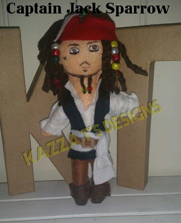Captain Jack Sparrow handmade felt plush doll #feltplushdolls #beingcreative #kazzatsdesigns #favecharacters #piratesofthecarribean #captainjacksparrow