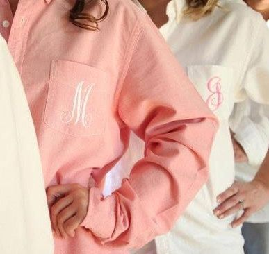 Bride/Bridesmaids Oversized Monogrammed Button Down Shirts on Etsy, $30.00 perfect for hair and makeup!