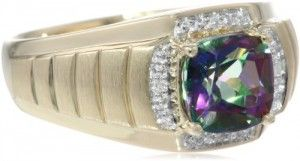 Men's 10k Yellow Gold Mystic Fire Topaz and Diamond Gents Ring (0.02cttw, G-J Color, I2-I3 Clarity), Size 10.5