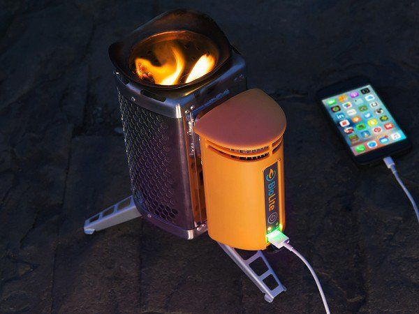 BioLite's wood fueled generator, discovered by The Grommet, lets you cook, warm up, and charge devices. A thermoelectric generator turns bio matter into heat.