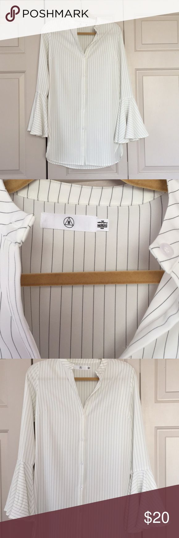 NEW Missguided button down bell-sleeve dress Brand new without tags! Never been worn!! Missguided white button down pinstripe dress with bell-sleeves. The color is white with black pinstripes. Comes from a smoke free and pet free home. Missguided Dresses Mini