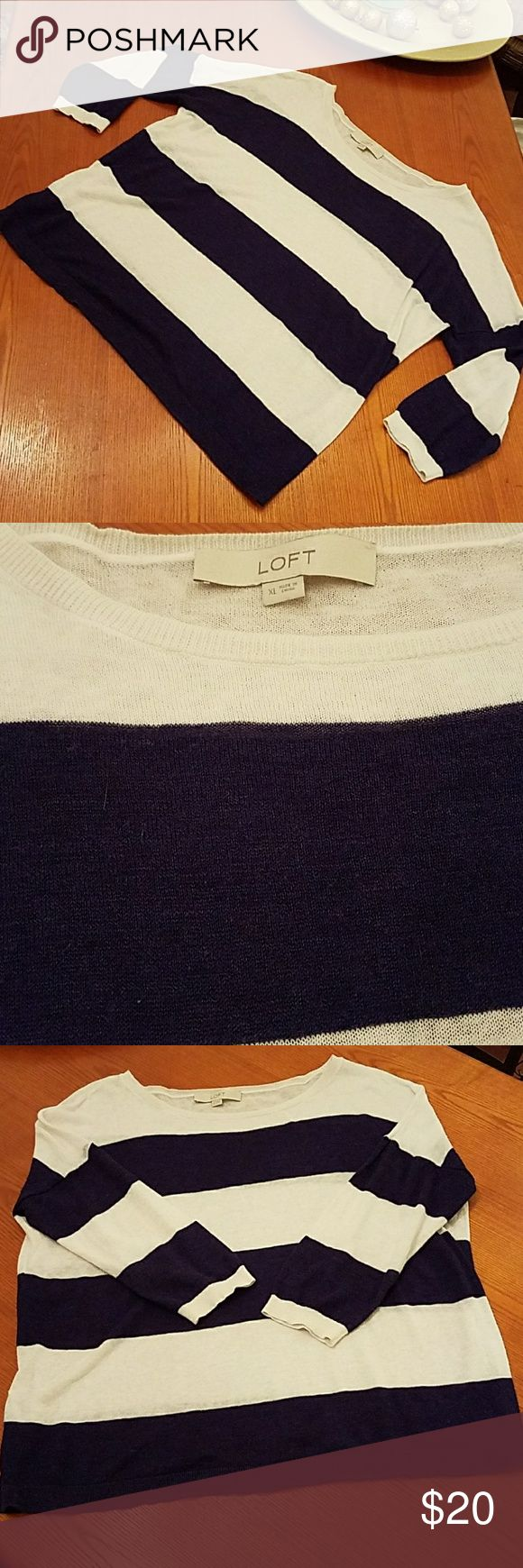 LOFT | Lightweight Nautical Stripe Sweater Extremely lightweight sweater with oversize fit.  Slightly sheer, great for layering or alone with cami underneath. Approx 3/4 sleeve. Very good used condition.   - 33% Ramie, 26% Linen, 21% Rayon, 20% Cotton LOFT Tops