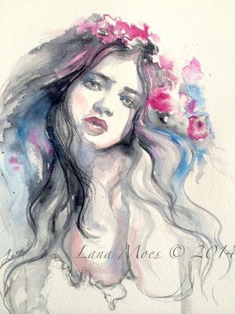 Fashion Illustration Original Watercolor Painting  by Lana Moes #fashion illustration, #boho,# bohemian watercolor