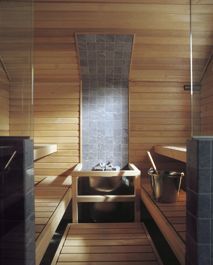 Sauna. This sauna has soapstone behind the sauna heater. Sometimes we through…