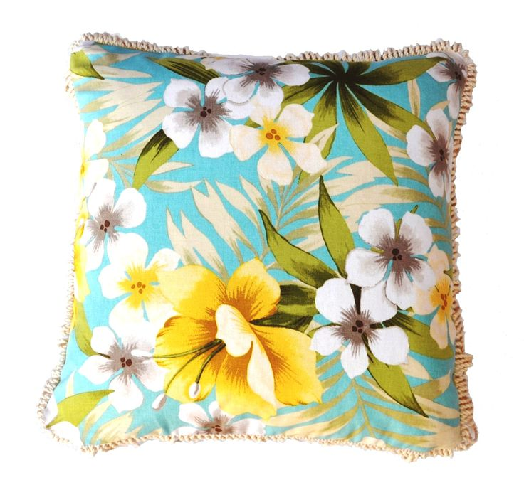 Sugar Beach - Tropical delight with 100% rich cotton bullion  fringing trim , cushion cover , available on Etsy.com