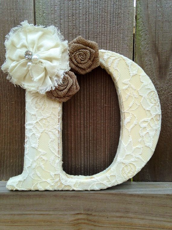 Distressed painted letter with lace and by TinyTotsNurseryDecor