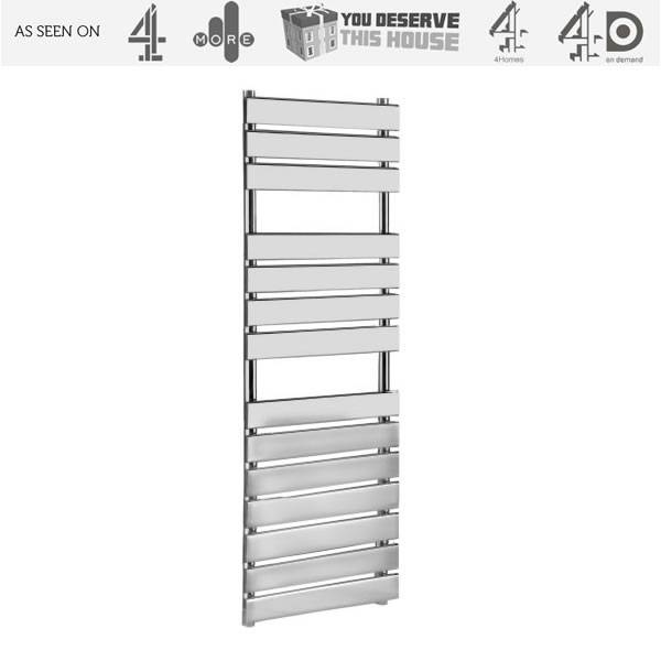 Kudox Signelle Designer Flat Panel Chrome Plated Towel Radiator Rail 1500mm x 500mm as seen on Channel 4's You Deserve This House  http://www.channel4.com/programmes/you-deserve-this-house