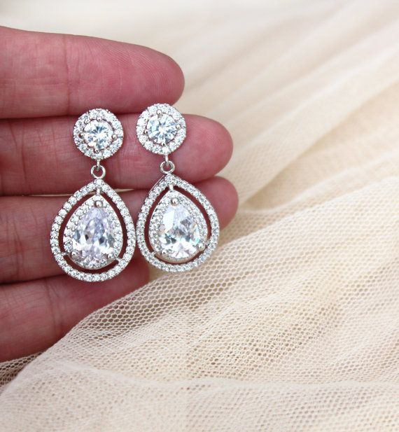 Crystal Wedding Earrings Bridal Earrings Statement Teardrop Earrings sterling silver post  by DreamIslandJewellery