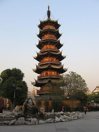 Longhua Temple is a Buddhist Temple dedicated to the Maitreya Buddha located in Shanghai, China. Shown here is the pagoda.  by briandubois